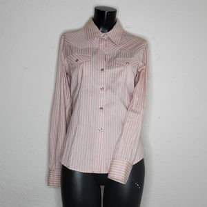 Theory western striped pearl snap button up shirt